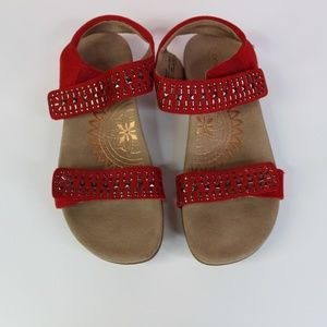 Aetrex Red Maria Studded Quarter Strap Sandals 8.5